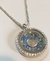 Necklace with Floating Sun & Swarovski Crystals Charm Pendant Jewelry Gift - $17.99