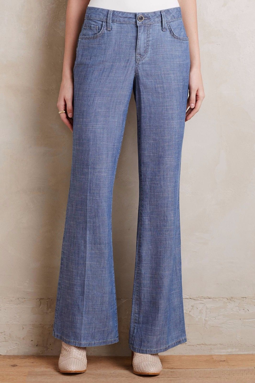 Primary image for NWT LEVEL 99 NEWPORT CHAMBRAY FLARED WIDE-LEG TROUSER JEANS 28