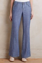 NWT LEVEL 99 NEWPORT CHAMBRAY FLARED WIDE-LEG TROUSER JEANS 28  - £59.02 GBP