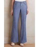 NWT LEVEL 99 NEWPORT CHAMBRAY FLARED WIDE-LEG TROUSER JEANS 28  - £62.63 GBP
