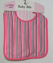 Ganz BG3191 Black White Hot Pink Striped Hook Loop Baby Bib Size Birth Up - $8.00