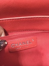 AUTHENTIC CHANEL RED SMOOTH CALFSKIN REVERSO MEDIUM BOY FLAP BAG RHW image 7