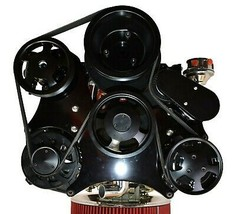 Small Block Chevy Serpentine Front Drive System Complete Kit BLACK image 2