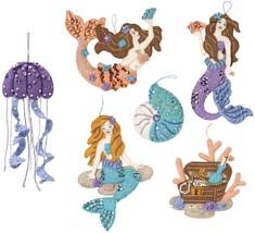 Bucilla Felt Ornaments Applique Kit Set Of 6-Sea Princess  - $28.75