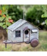 Birdhouse Rustic Country Style Happy Camper Metal Hanging Garden Decoration - $50.00