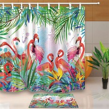 Cute Flamingo 37 Shower Curtain Waterproof Polyester Fabric & Bath Mat For Bathr - $15.30+