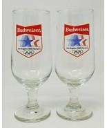 Vintage Set of 2 Budweiser 1984 Los Angeles Olympics Beer Glasses - $19.75