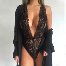 Women Sexy One Piece Lingerie Hollow Floral Lace Halter Backless Teddies... - $35.95