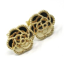 18K YELLOW GOLD BOTTON FLOWER DAISY EARRINGS 14 MM, DOUBLE LAYER WORKED MIRROR image 2