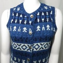 Orvis Womens M Heavy Cotton Knit Sweater Vest Blue Silver Buttons Indigo - $20.76