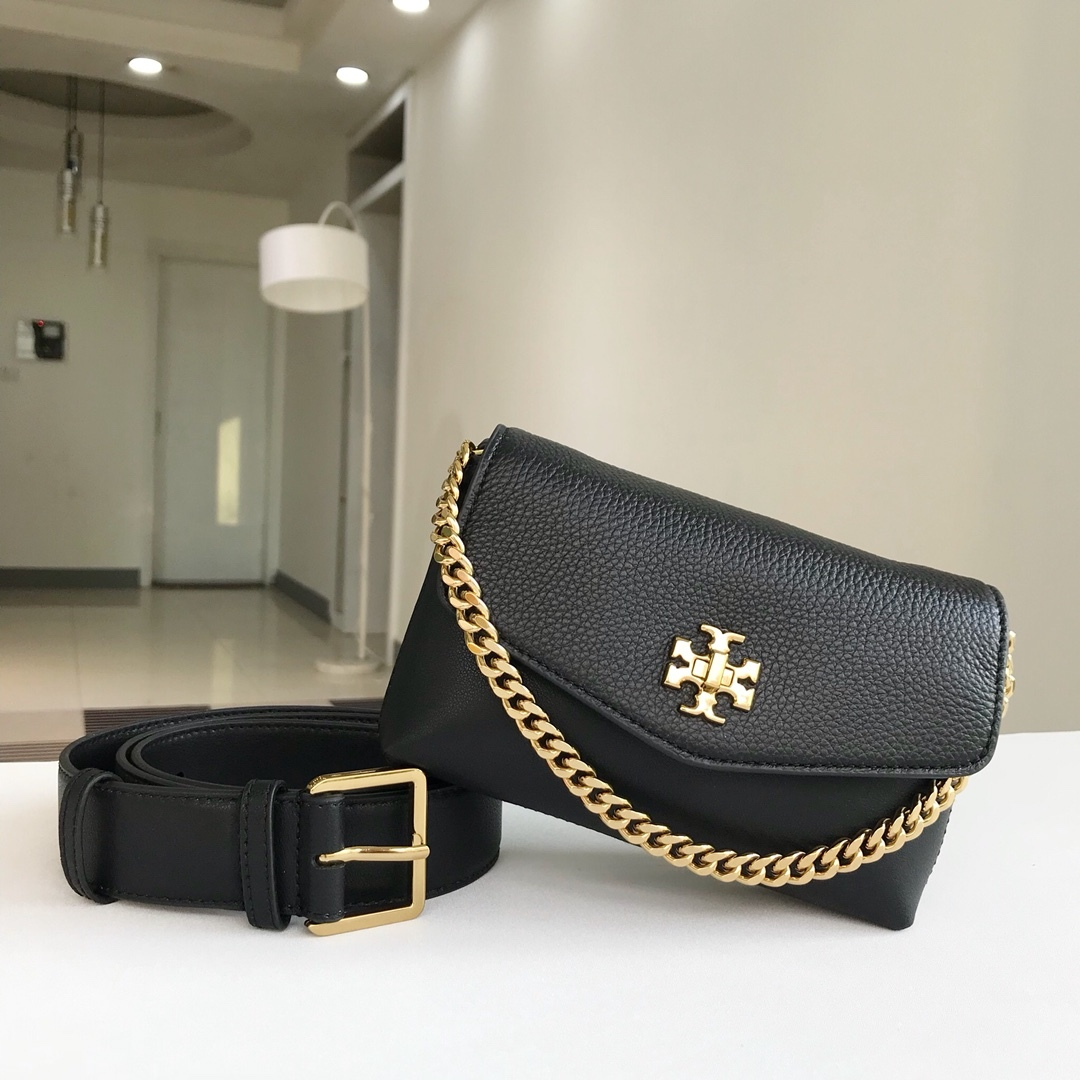 Tory Burch KIRA MIXED-MATERIALS BELT BAG Black