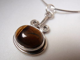 New Tiger Eye Swirls 925 Silver Pendant Corona Sun Jewelry - $11.87