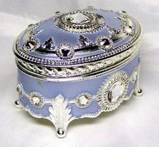 Frozen Elsa Swarovski Antimony Music Box Let It Go Oval style sky blue S... - $125.73
