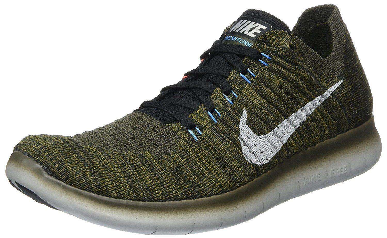 Men's Nike Free RN Flyknit Running Shoes, 831069 301 Sizes 8.5-13 Khaki/Blk/Mang