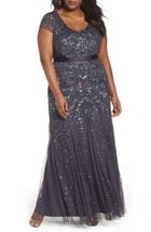 Adrianna Papell Women's Gunmetal Embellished Cap-sleeve Gown Plus  14W  ... - $188.10