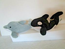 "Sea World 10"" Set 2 SHAMU Orca WHALE & FLIPPER Gray DOLPHIN - beanbag pl... - $9.99"