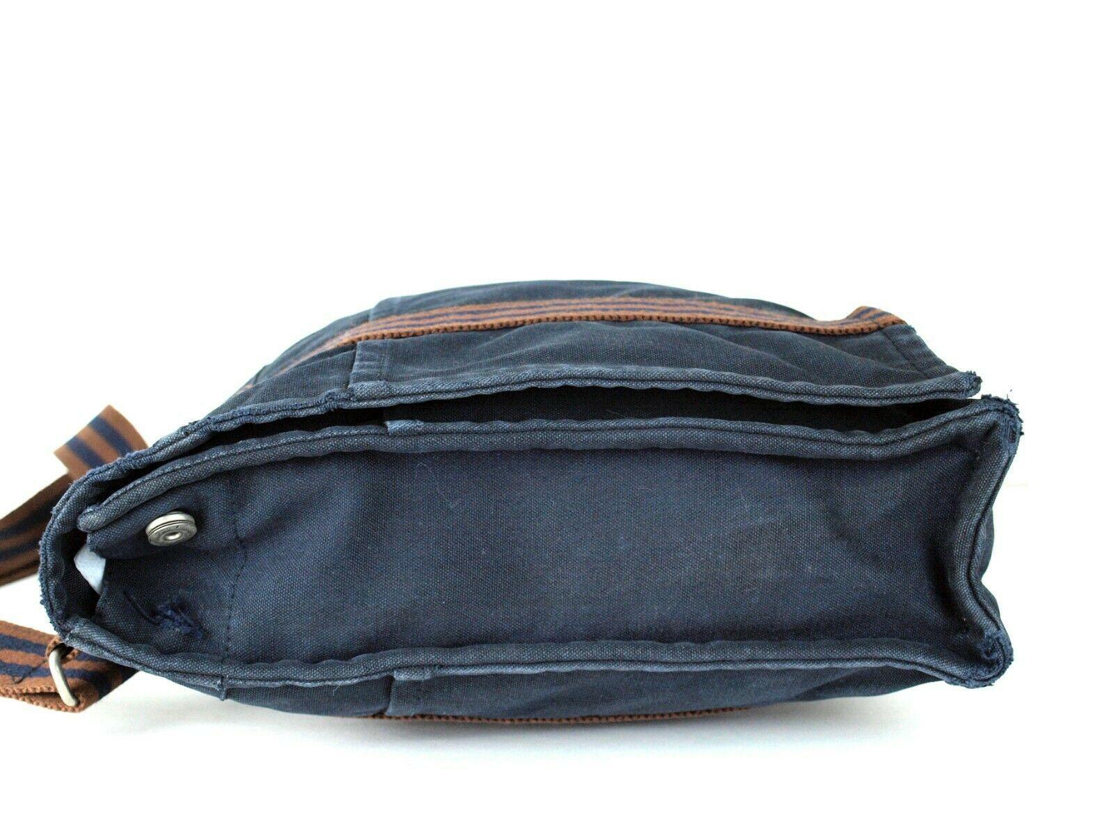 Auth Hermes Fool Toe Vassus MM Navy Cotton Canvas Shoulder Bag Purse France Used image 6