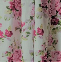 """Window Valance W New Laura Ashley Lidia Pink Roses White Floral Lined 54"""" - $36.99"""
