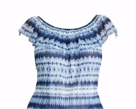 Chaps by Ralph Lauren Womens Plus Blue Tie Dye Printed Off The Shoulder ... - $39.99