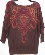 Chaps by Ralph Lauren Chocolate Brown Paisley Print Dolman Sweater M Medium 8 10 - $49.98