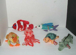 Ty Beanie Babies Set of 6 Sea Life & Reptiles Fish Turtle Frog Octopus Alligator - $21.76
