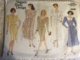 Vogue 2482 Misses Dress Sewing Pattern Sizes 8 10 12 - $14.95