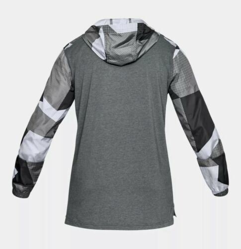 UNDER ARMOUR HOODIE PULL OVER WINDBREAKER TOP Black & Gray Adult Extra Large!! image 3