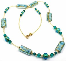 LONG NECKLACE BLUE MURANO GLASS RECTANGLE TUBE, SPHERE, GOLD LEAF, ITALY MADE image 1