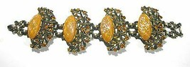 HUGE VINTAGE UNSIGNED SELRO YELLOW LUCITE BROWN RHINESTONES WIDE BRASS B... - $200.00