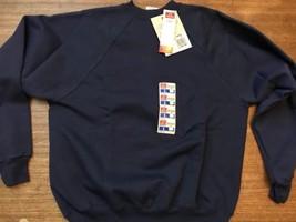 NWT 1990's HANES blank sweatshirt L blue NOS long sleeve crew shirt 96 Vintage - $28.49