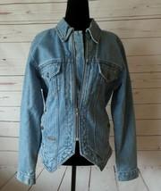Vintage Harley Davidson 80's Light Wash Blue Denim Zip Front Jacket Size... - $40.96