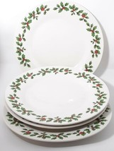 """Royal Norfolk Set of 4 Dinner Plates Holly And Berries Christmas 10.5"""" - $12.60"""