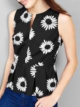 Gap Daisy Slit-neck Peplum Top, Floral, 100% Cotton, Black/White, Size 10, NWT - $44.96