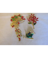 Lot of Christmas Pins - Trifari, Jonette Jewelry Co., Faux Pearls and En... - $12.99