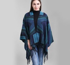Autumn Poncho Fashion Women Geometric Diamond Patterns With Tassel Natio... - $29.25