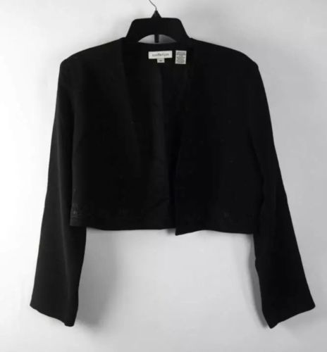 Ann Taylor Black Long Sleeve Embroidered Collarless Cropped Jacket Sz10