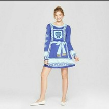 Cute Hanukkah Ugly Sweater Dress XS Blue Menorah Womens NWT Born Famous - $16.83