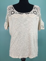 Express Women's Cold Shoulder Lace Accent Top - Size Small - Tan, Loose Fit, EUC - $14.97