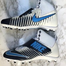 Nike Lunarbeast Strike Pro TD Football Cleats Sz 15 Blue and White 84755... - $47.50