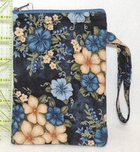 Cell Phone Case With Handle - Medium - Blue & Ecru Flowers - HPC - $4.00