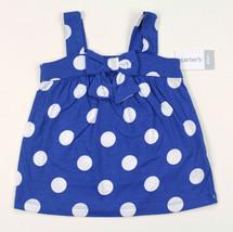 CARTERS NEW TODDLER GIRLS SLEEVELESS COTTON DOT BLUE SUN DRESS 24 MONTHS - $9.89