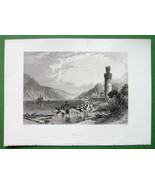 GERMANY Oberwesel on Rhine River - Antique Print by Birket Foster - $13.77