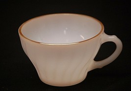 """Old Vintage Golden Shell by Anchor Hocking 2-1/2"""" Milk White Flat Cup US... - $8.90"""