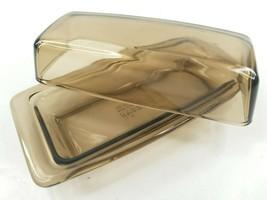 Pyrex Amber  Smoke Brown Covered Butter Dish Lid 72-B Set Vintage Corning Glass - $29.67