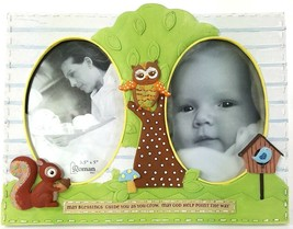 """May God Bless Unisex Baby Double Picture Photo Frame 3.5""""x5"""" Owl Squirre... - $22.43"""
