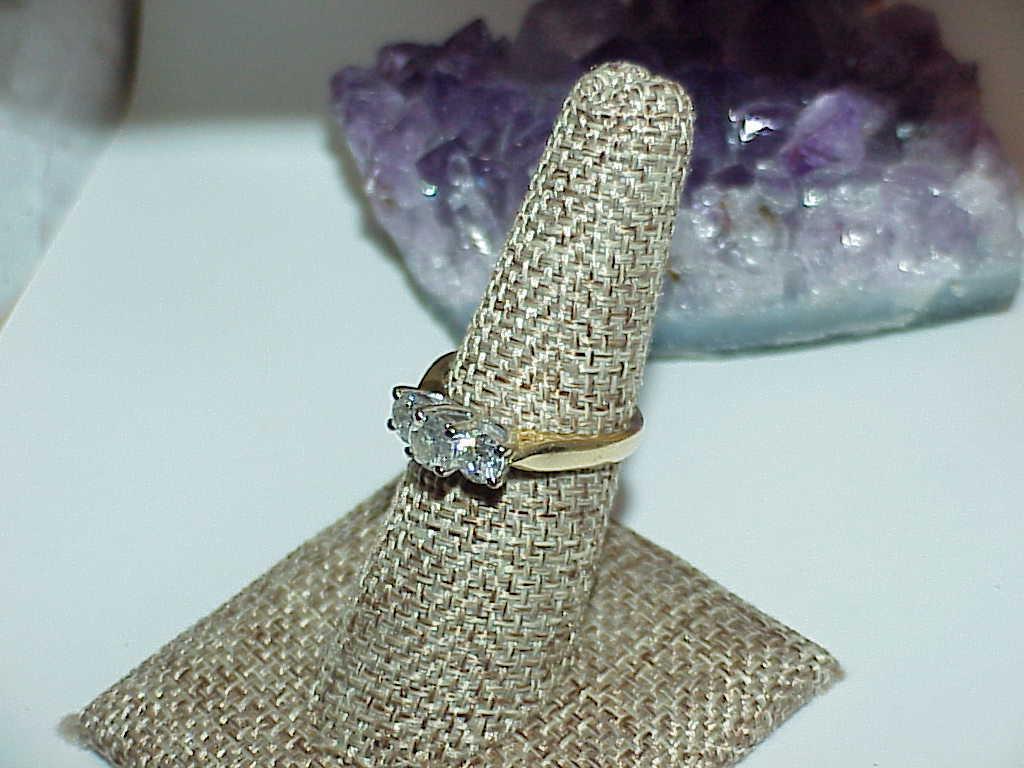 14K 1.00ct 3 Diamond Ring Yellow White & Gold Size 7 3 Stone Band SI  H Gorgeous