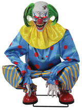 HALLOWEEN Life Size ANIMATED CROUCHING BLUE CLOWN Prop DECOR NEW - $189.99