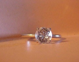 Sliver Ring Set with Crystal Clear Rhinestone Size 7 Vintage - $9.85