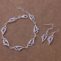 New Offset Bracelet and Earrings Set 925 Sterling Silver FREE 1-DAY SHIP - $9.45