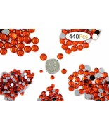 Acrylic Rhinestones Flat Back Orange Hyacinth Mixed 6 Sizes 440 Pcs - $12.30